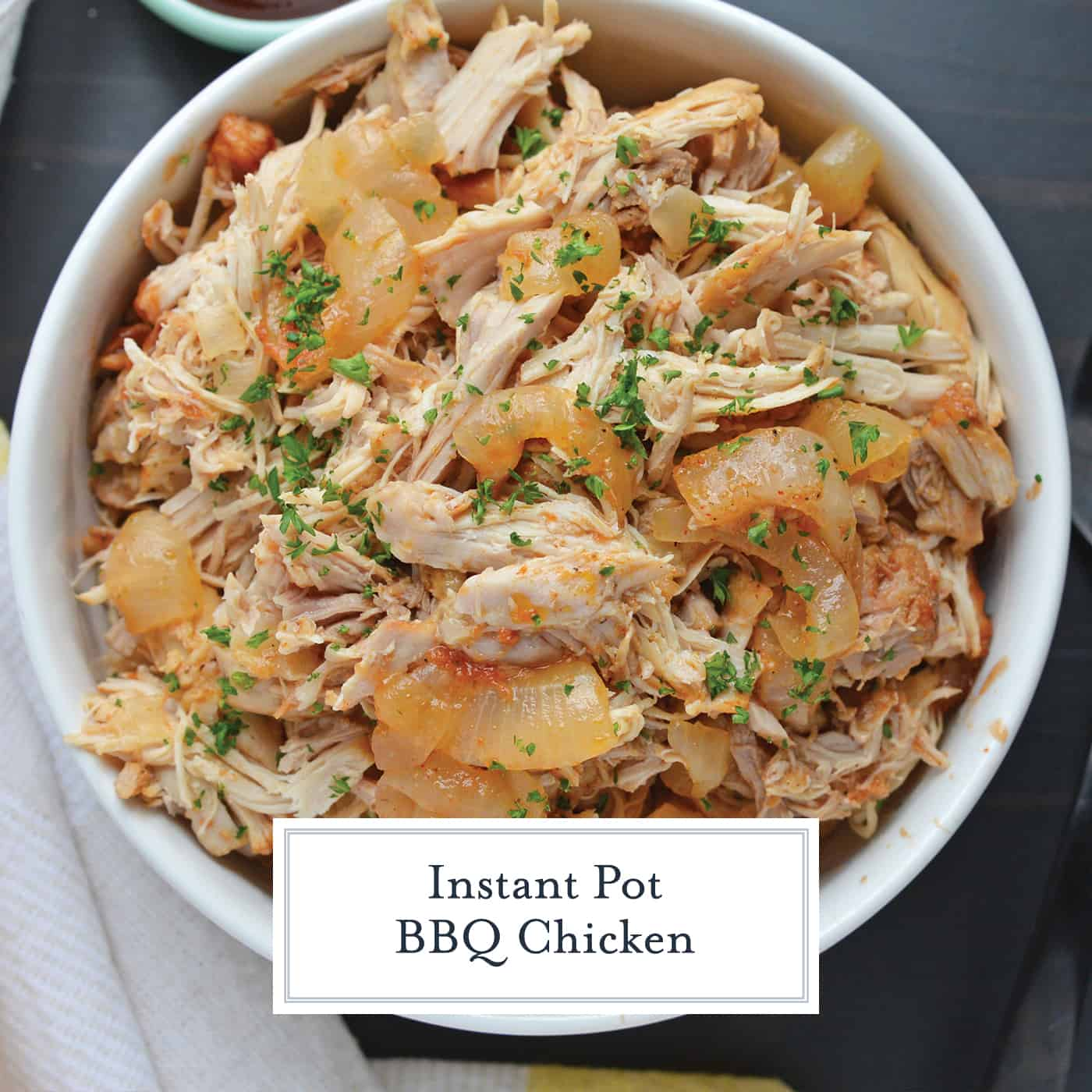 bowl of instant pot pulled chicken