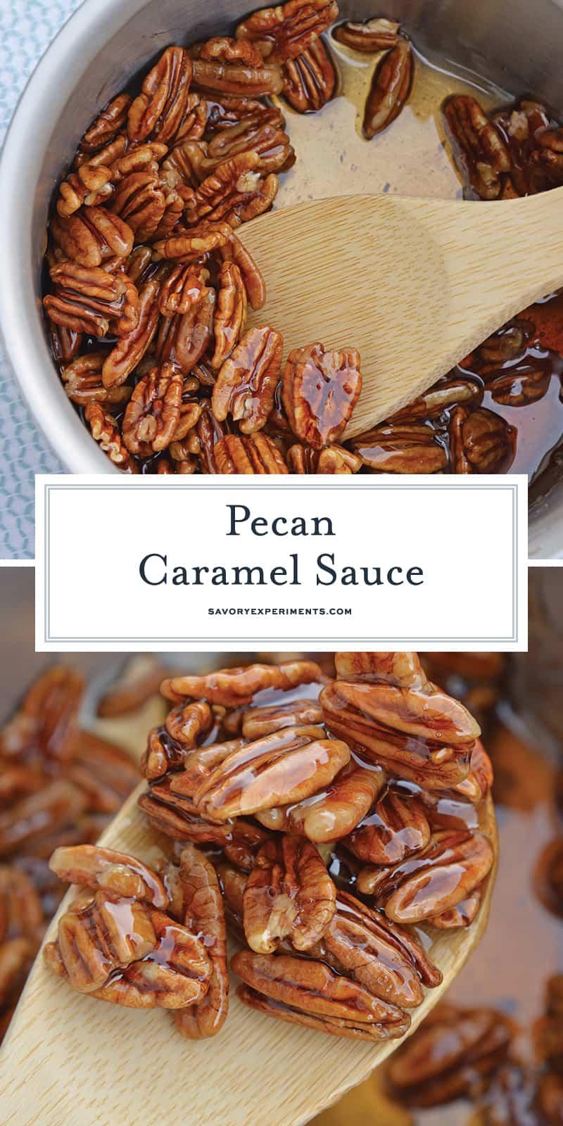 Caramel Pecan Sauce in saucepan