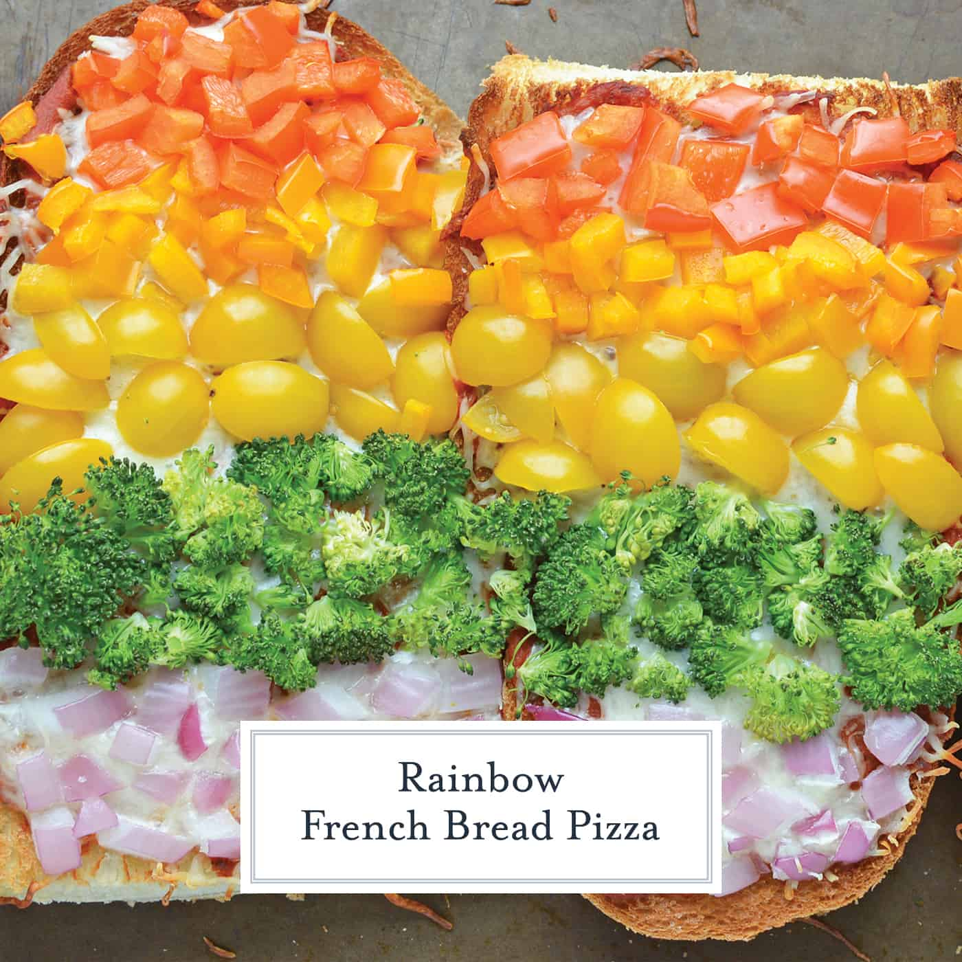 Close up of Rainbow French Bread Pizza