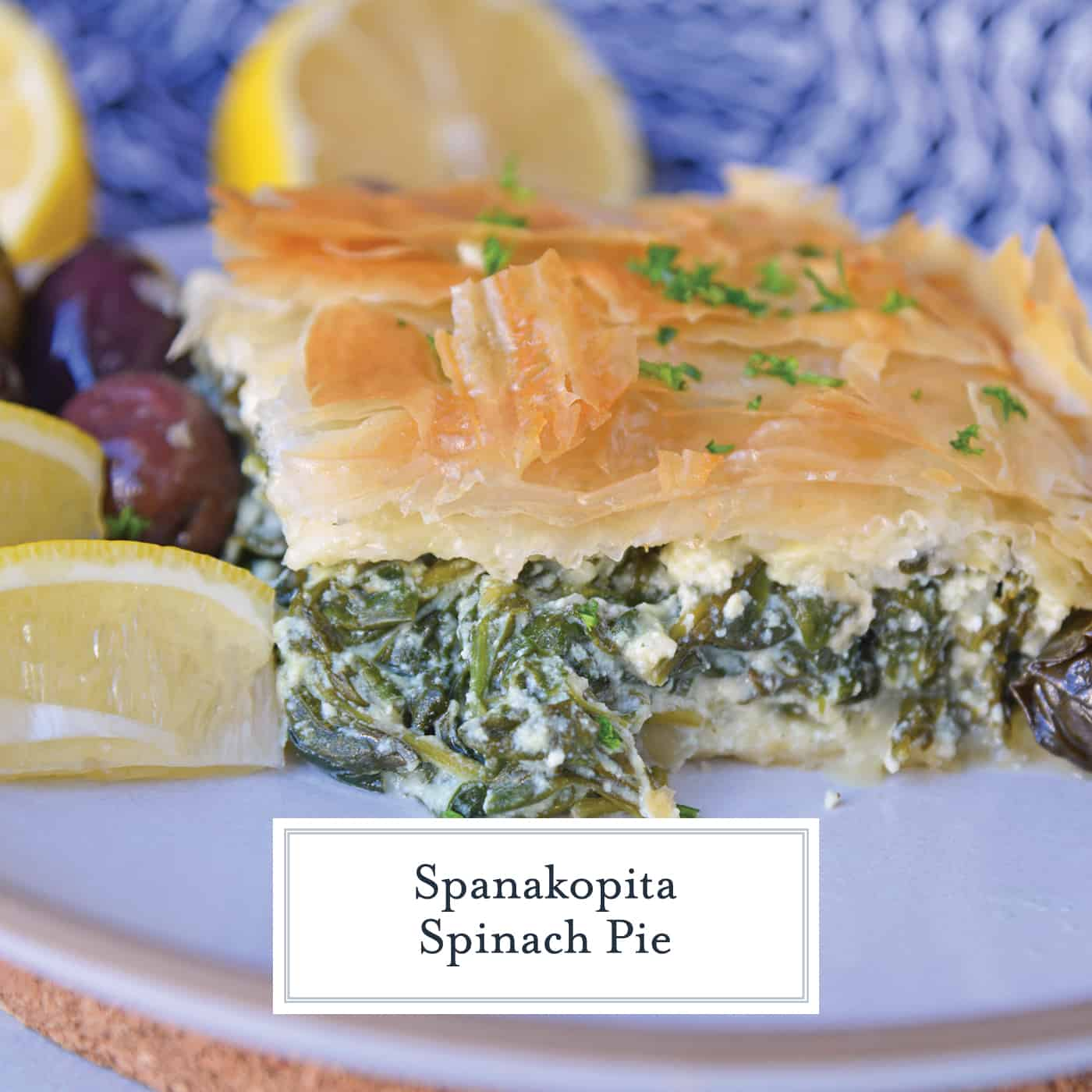 Side angle of Greek spinach pie