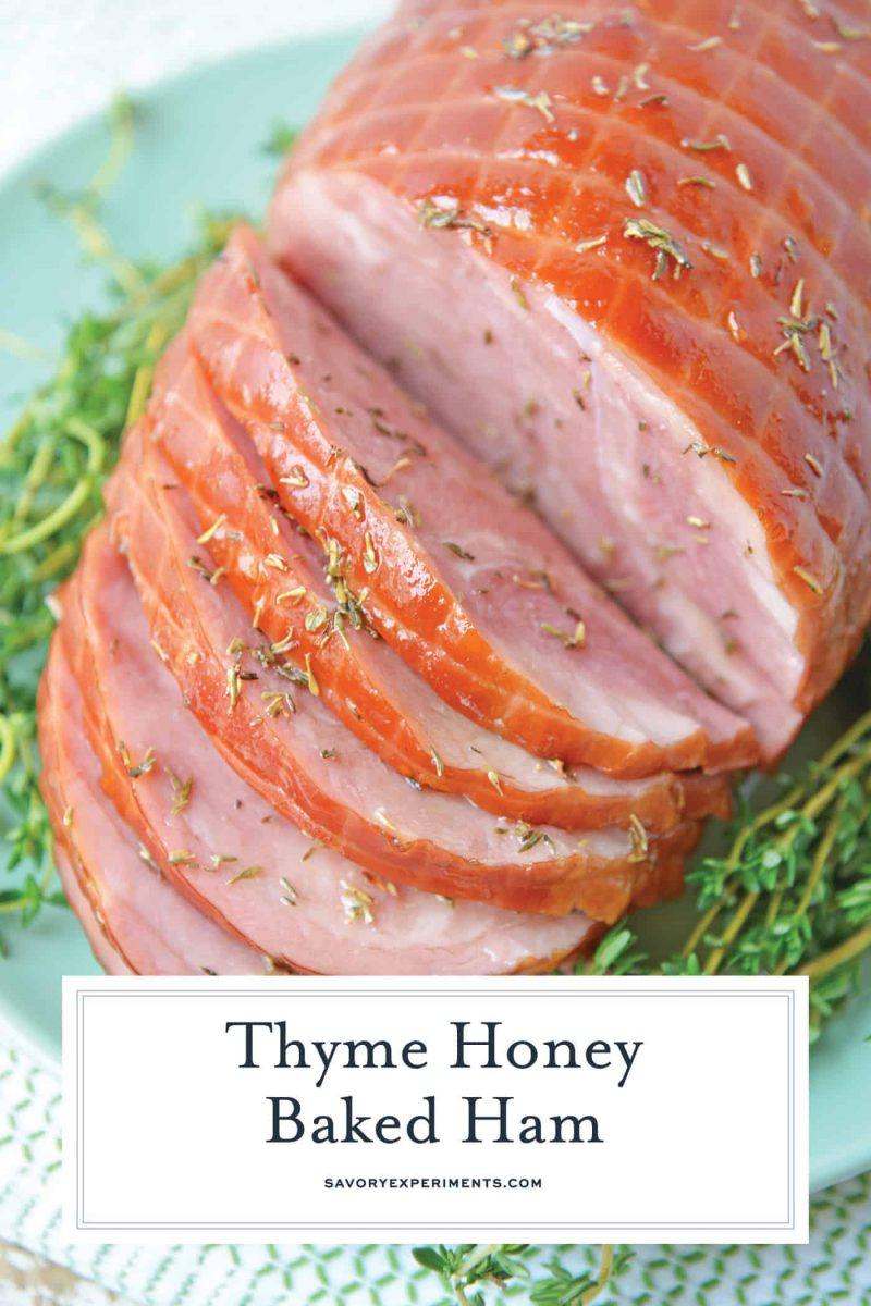 Close up of sliced ham for pinterest