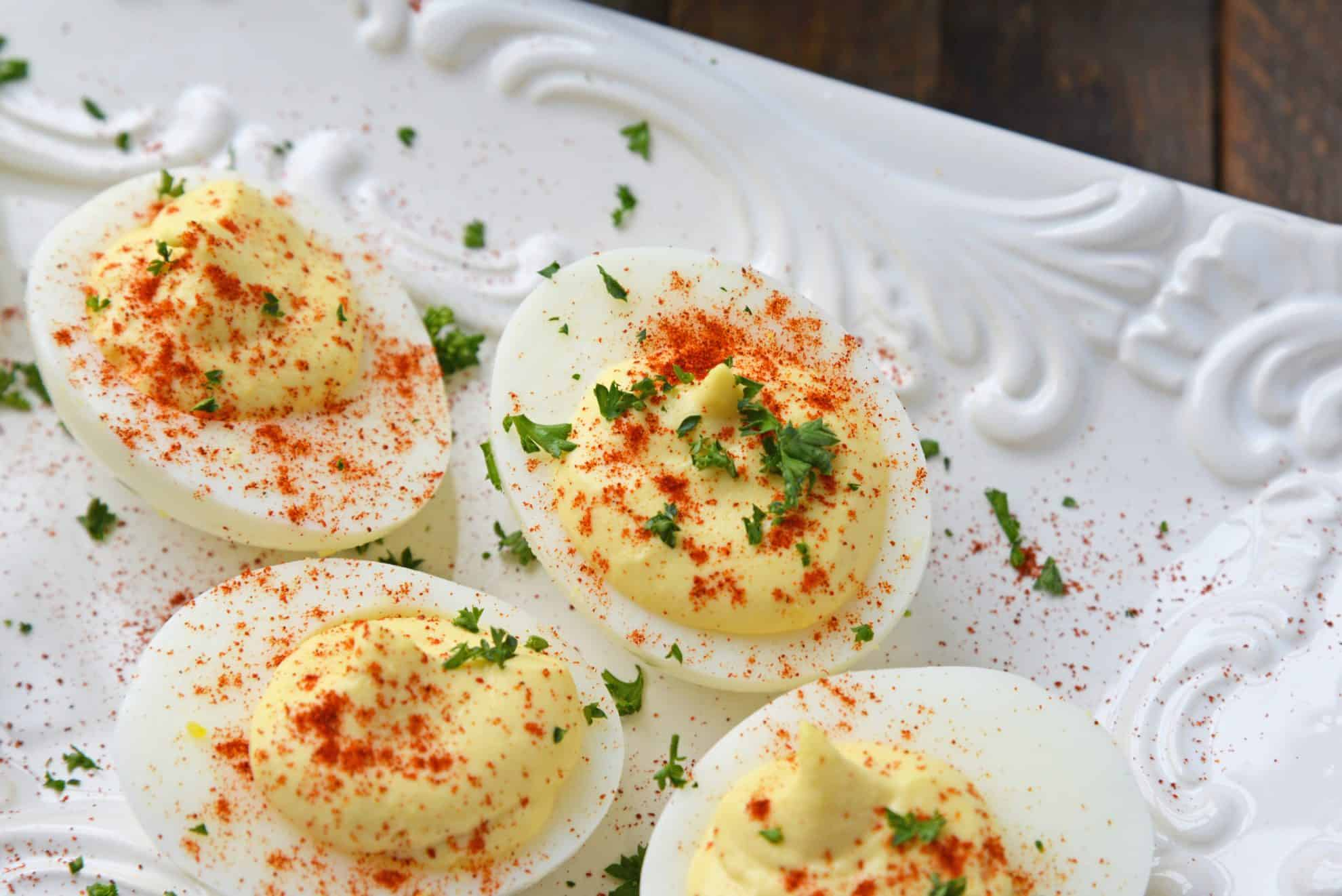 deviled eggs with paprika and parsley