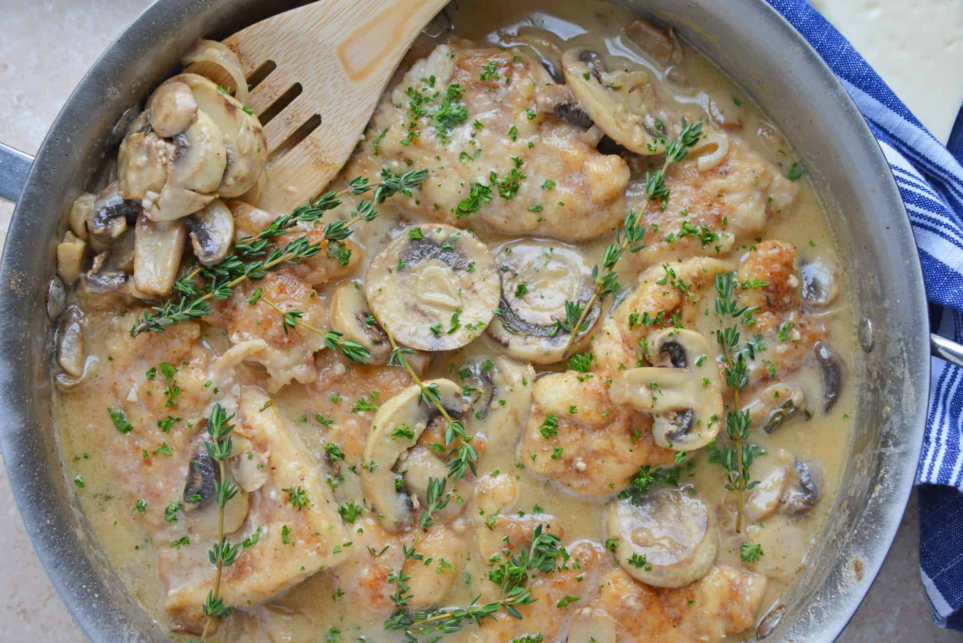 Creamy mushroom chicken in skillet