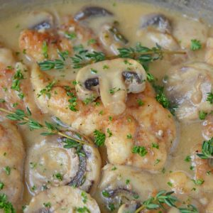 Close up of creamy asiago chicken