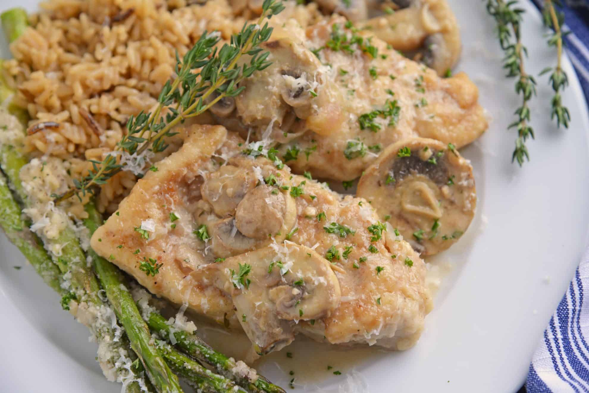 Creamy mushroom chicken with asparagus