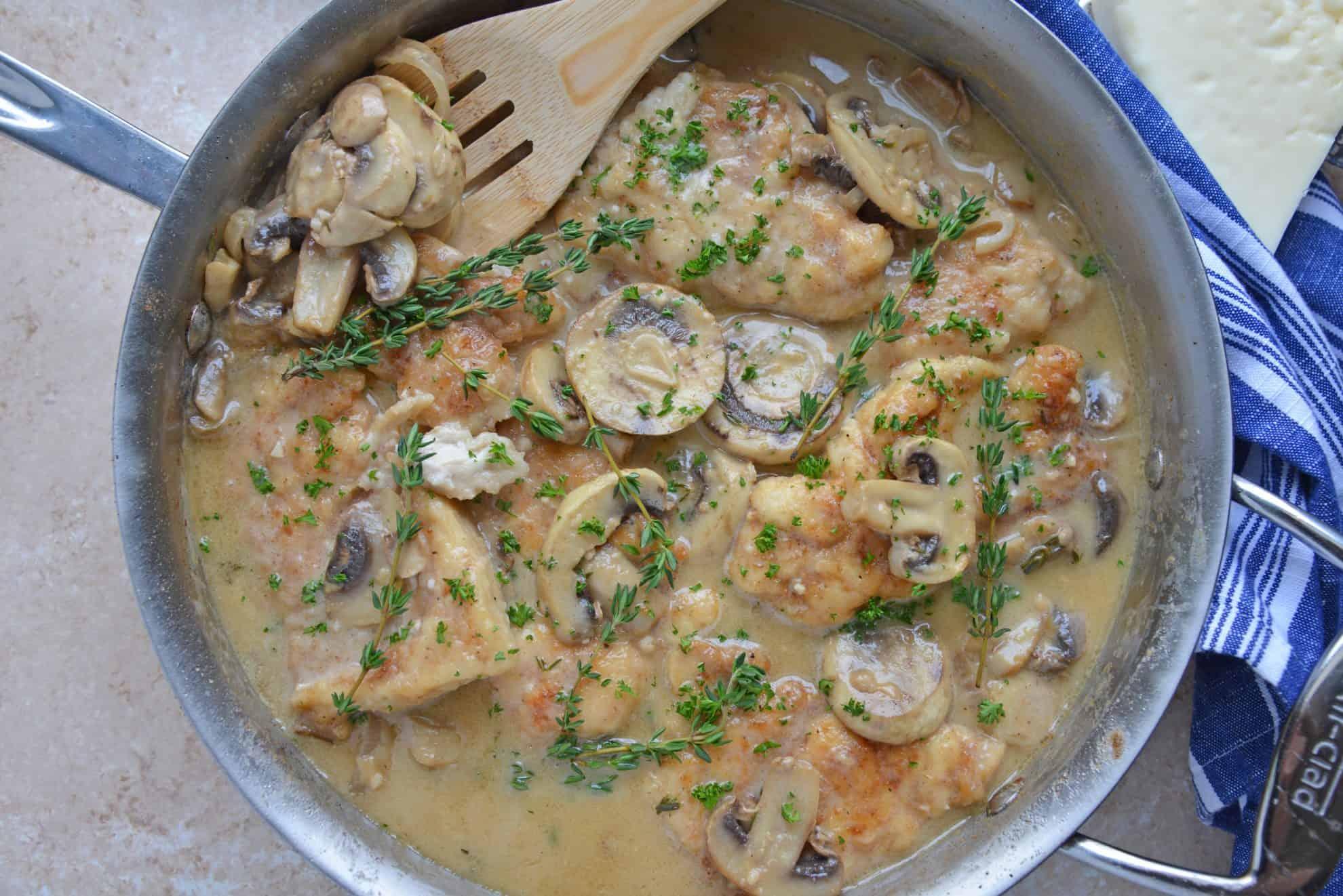 Overhead of creamy mushroom chicken