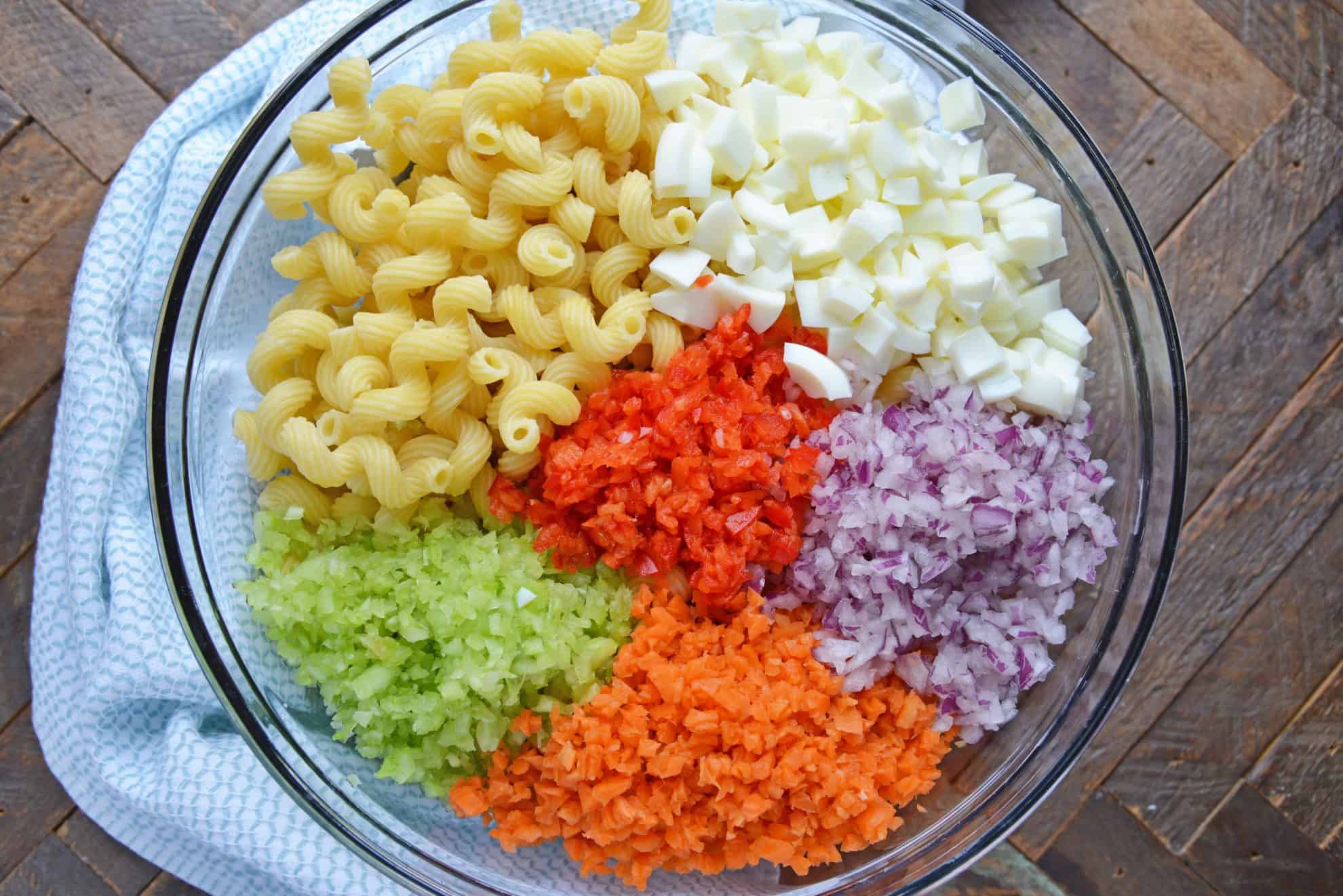 Ingredients for macaroni salad