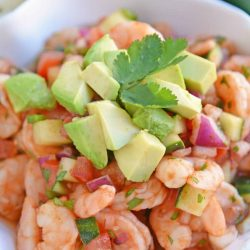 Angled close up of Mexican Shrimp Cocktail