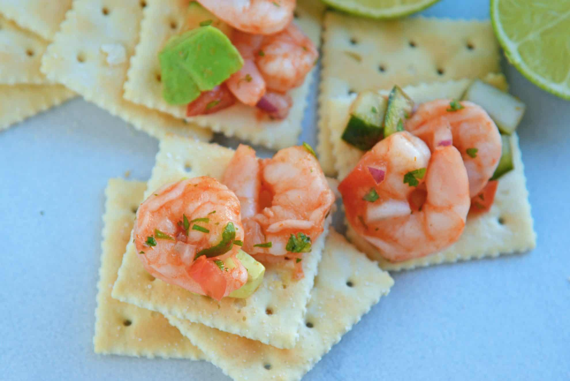 Mexican shrimp cocktail on saltine crackers