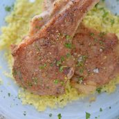 Close up of crusted lamb chops