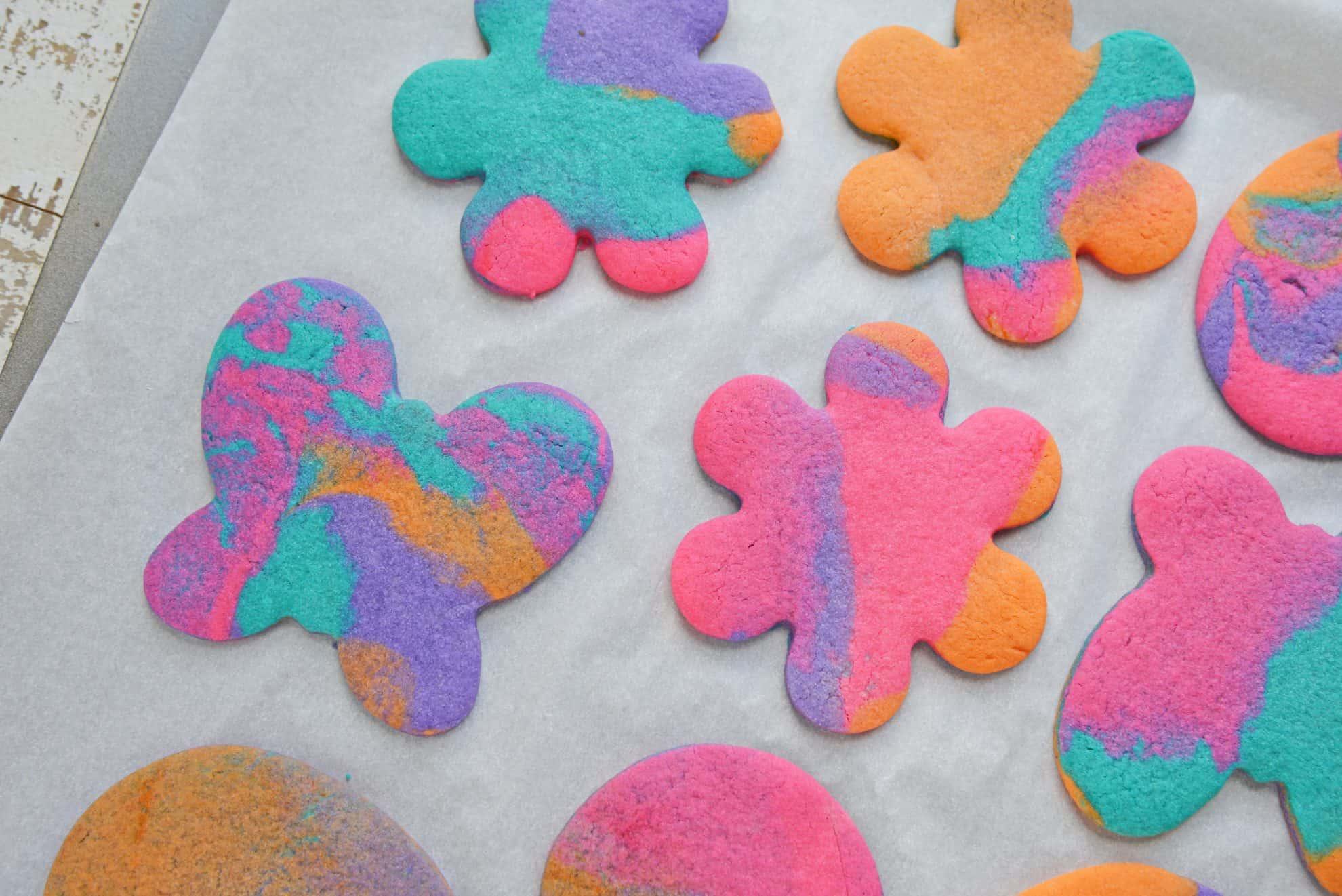 Tie Dye Sugar Cookies on baking sheet