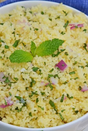 Couscous with red onion and fresh mint