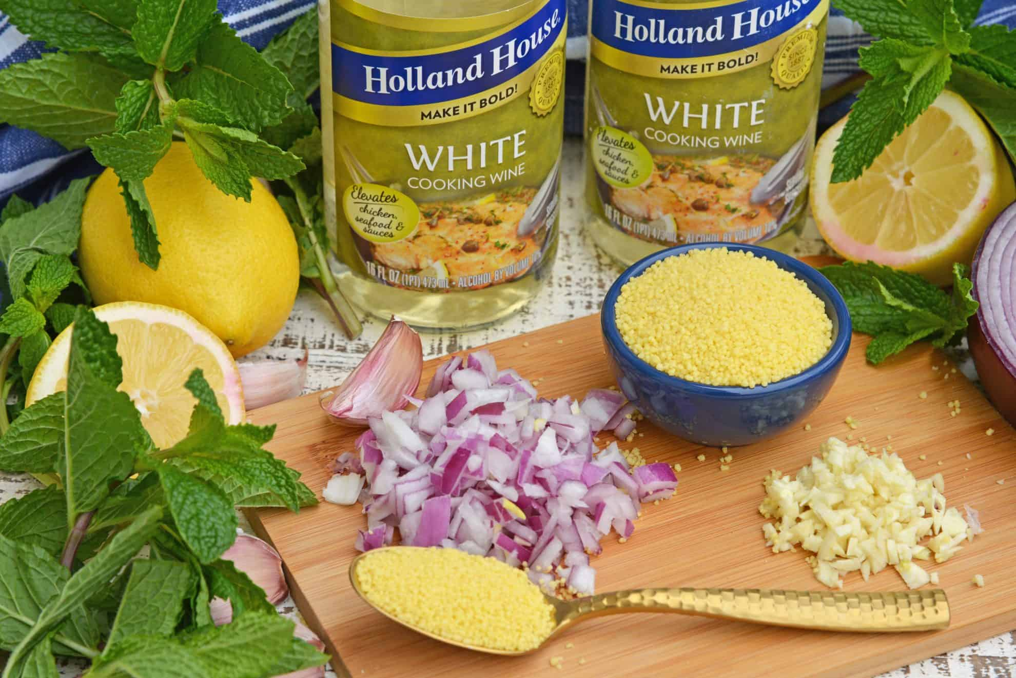 Ingredients for white wine couscous