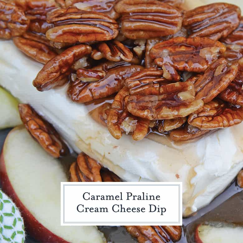 Side angle of caramel pecan cream cheese dip