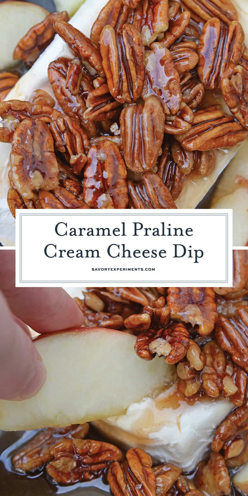 Caramel Praline Cream Cheese Dip for Pinterest