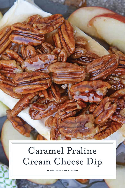 Overhead of praline sauce dessert