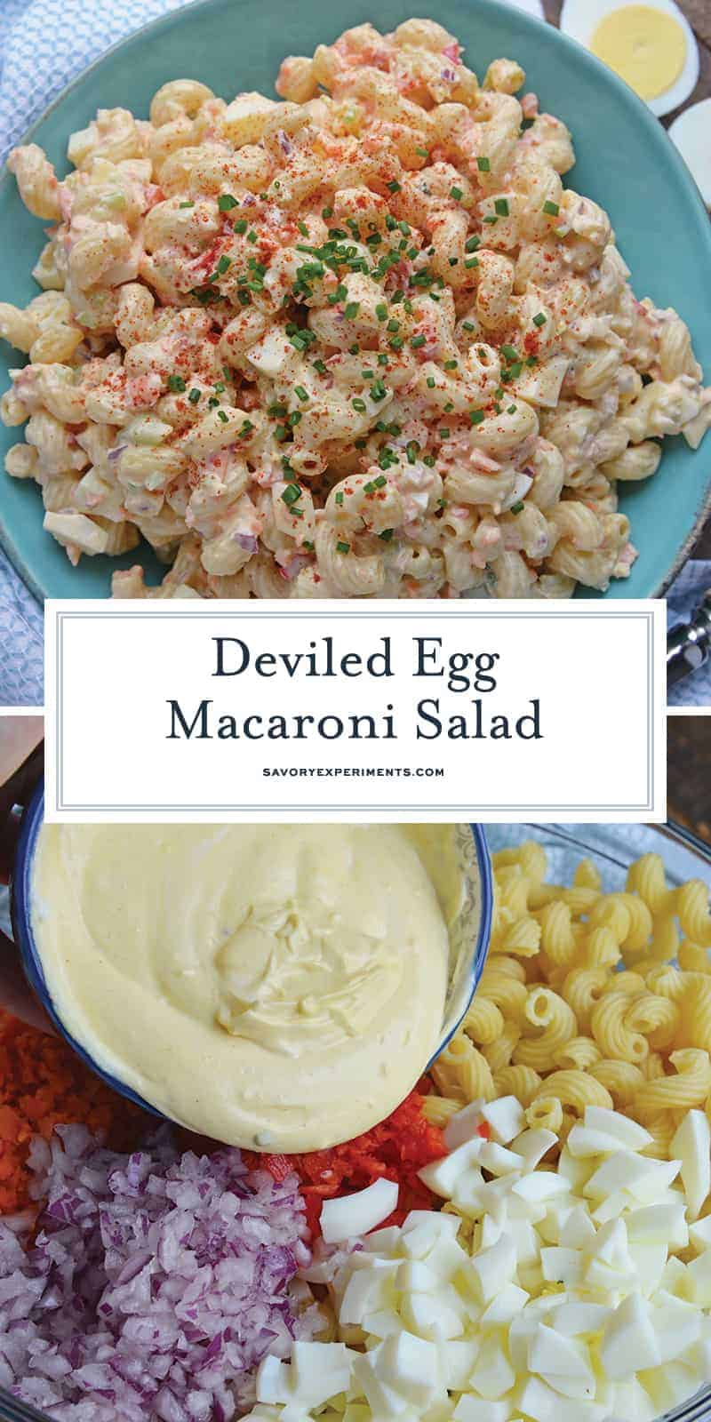 Collage of Deviled Egg Macaroni Salad for Pinterest
