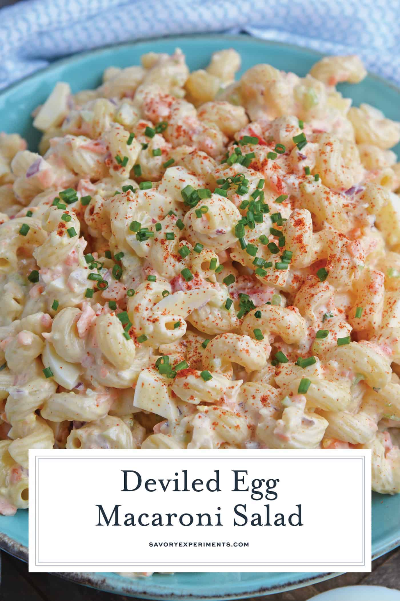 Macaroni salad with chives for Pinterest