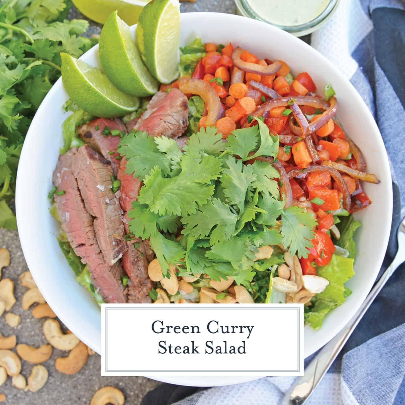 Overhead of Green Curry Steak Salad