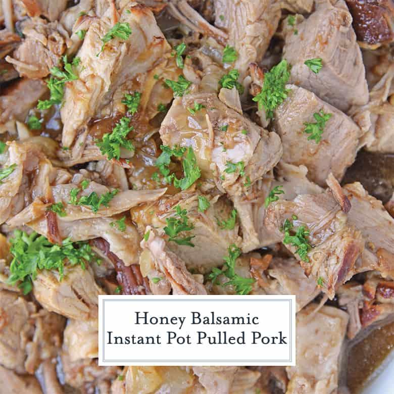 Overhead of honey balsamic pulled pork