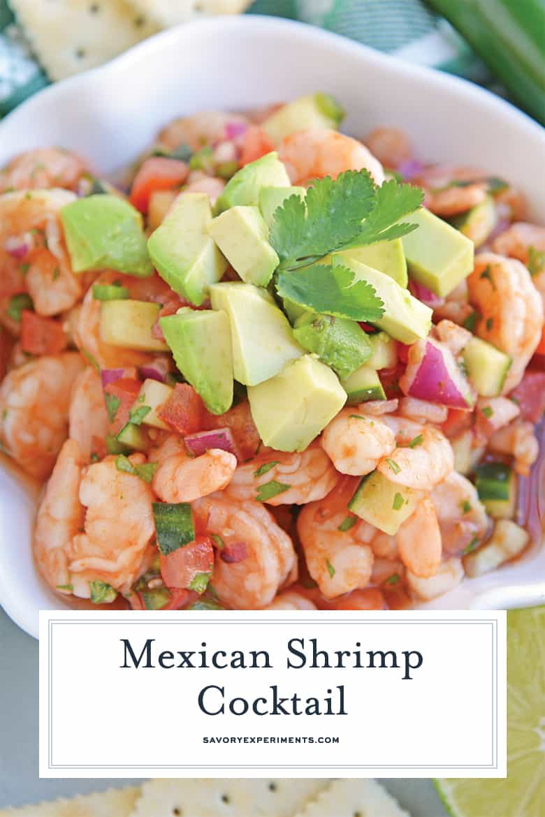 overhead of Mexican shrimp cocktail with avocado