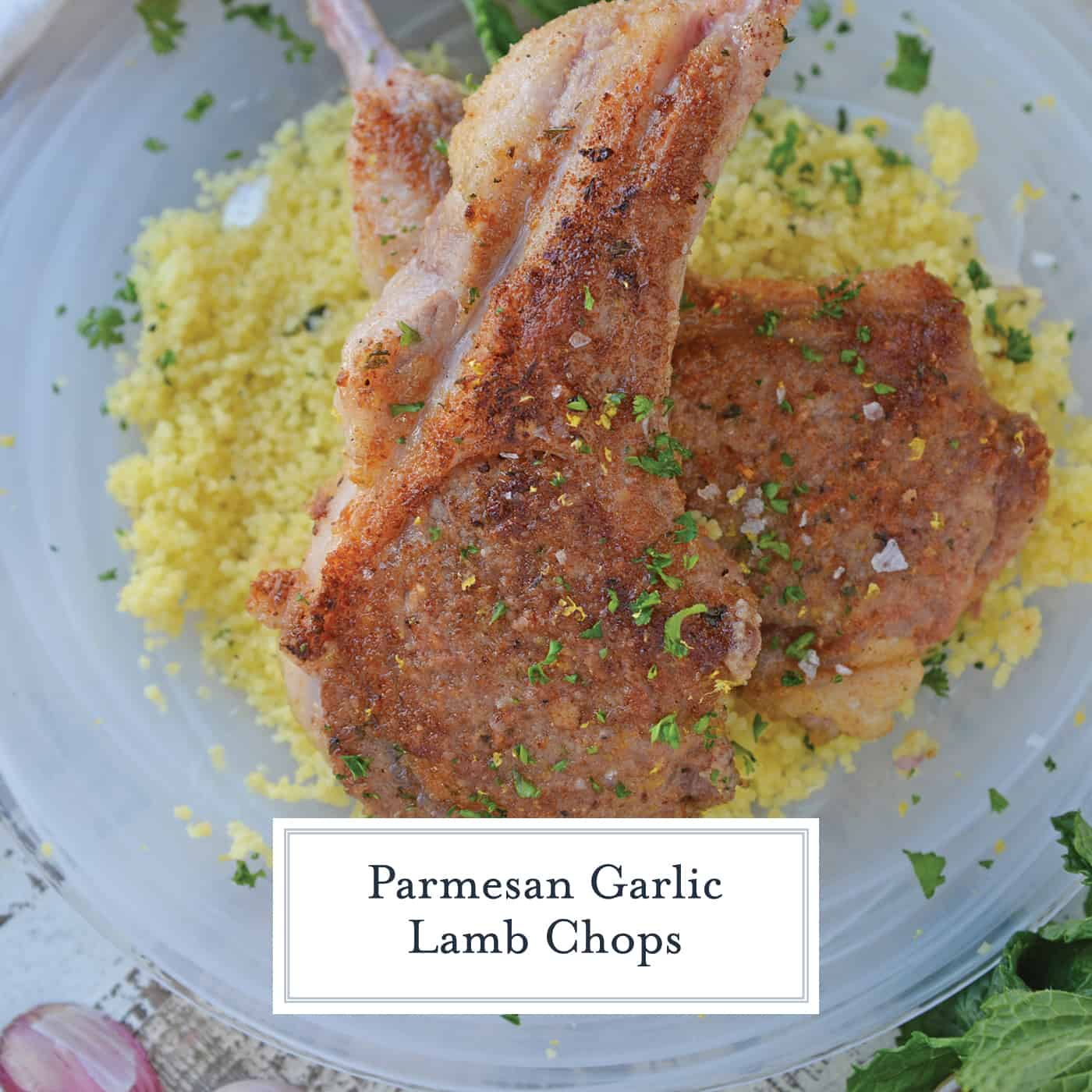 Close up of lamb chops over couscous