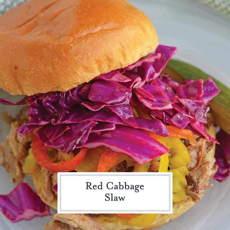 Red Cabbage Coleslaw on a sandwich