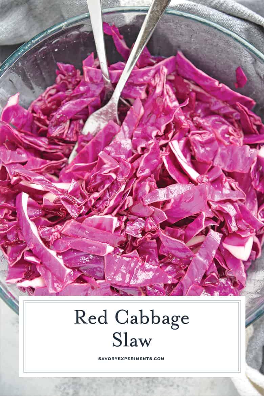Bowl of shredded red cabbage coleslaw