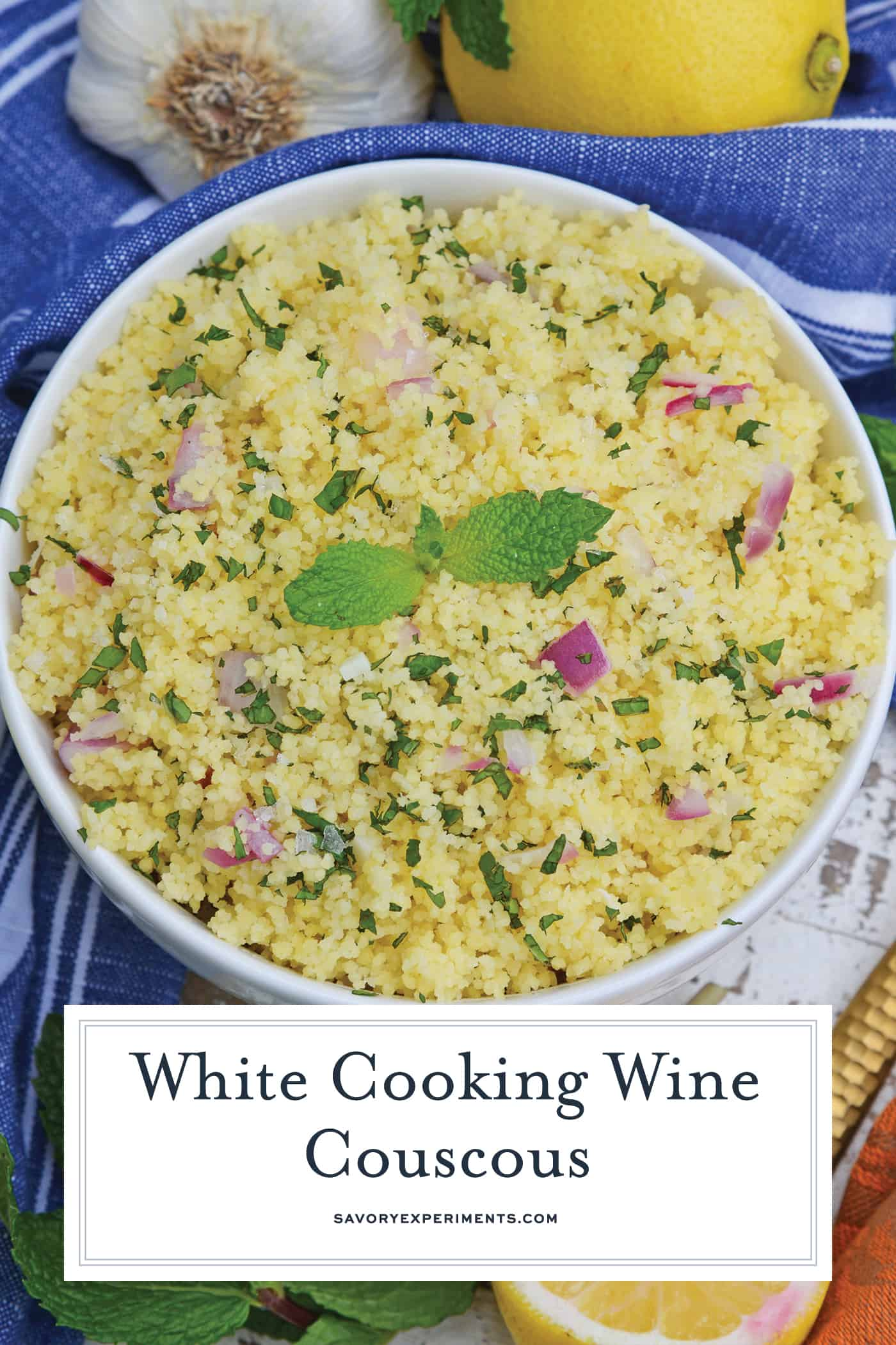 Overhead of White Wine Couscous
