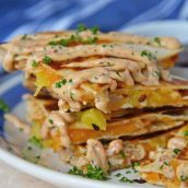 A close up of a plate of food, with Chicken and Quesadilla