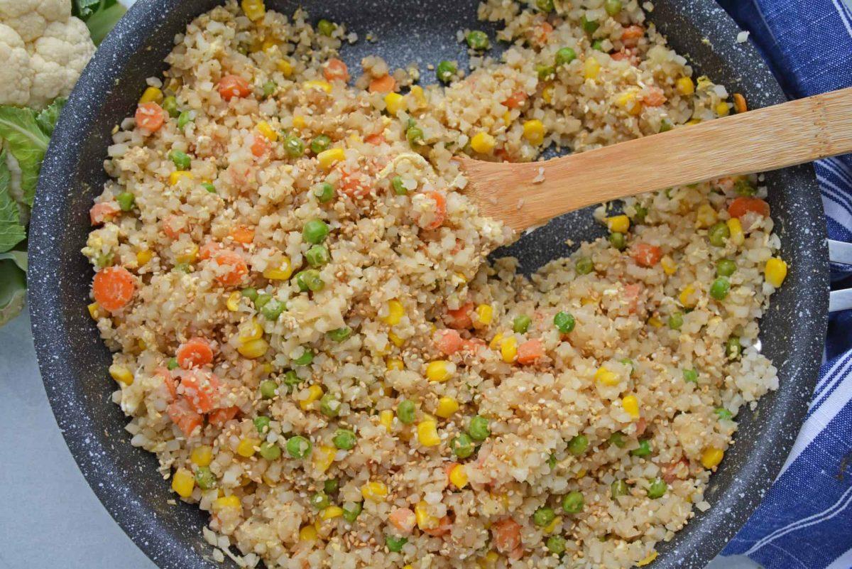 Overhead of cauliflower fried rice