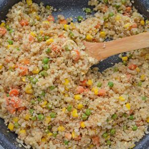 skillet of cauliflower fried rice