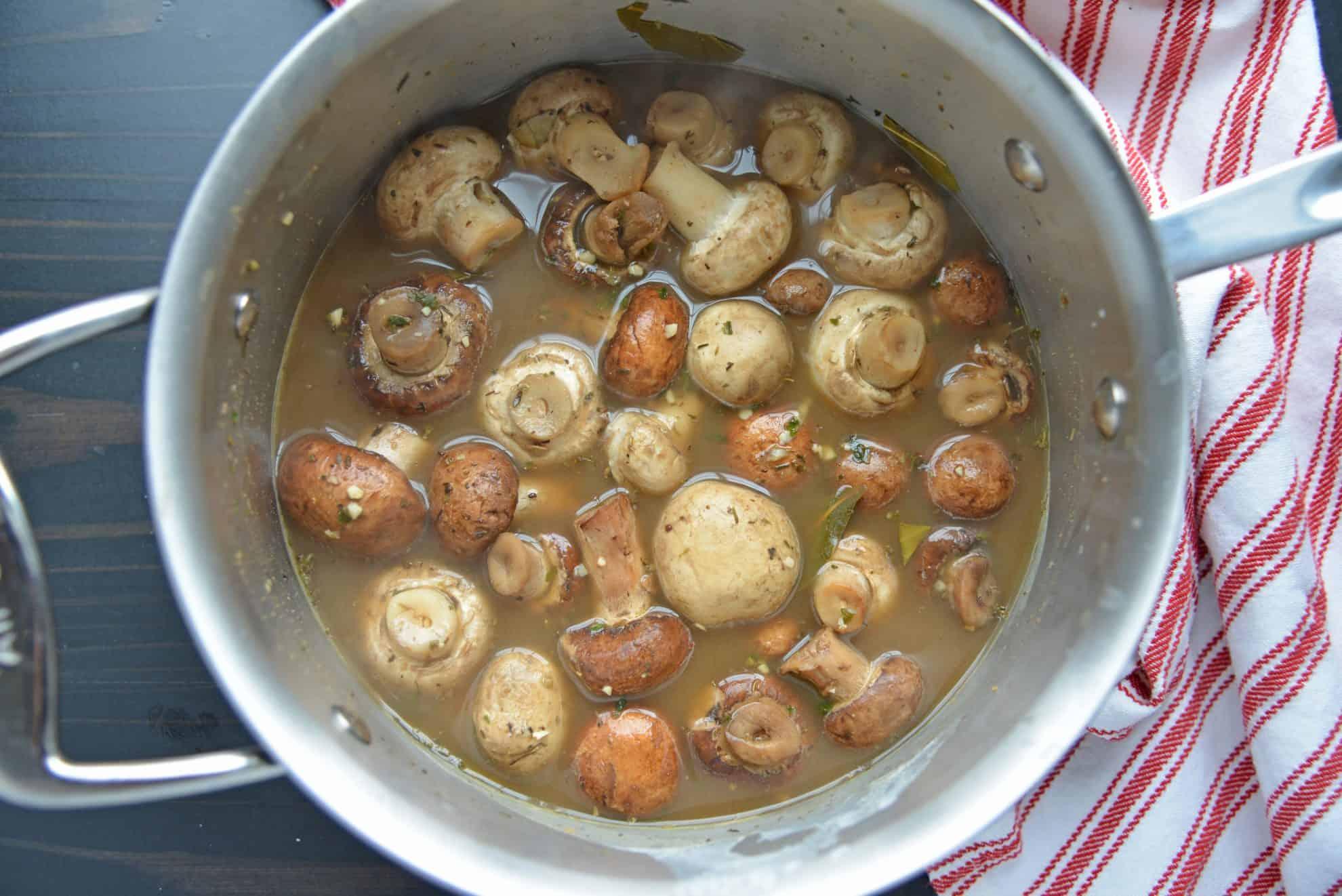Mushrooms before cream cooking