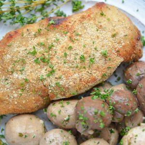 close up of crispy baked pork chops