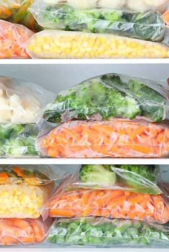 frozen vegetables in plastic bags