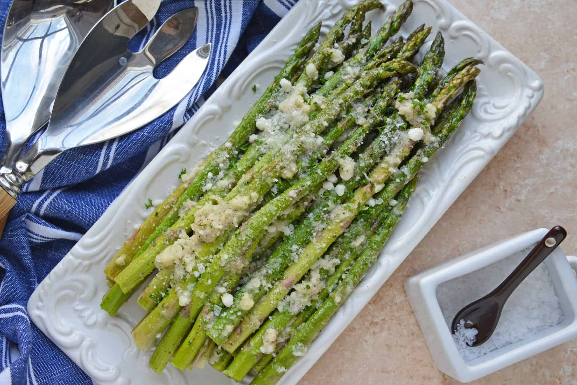 Overhead of Garlic Parmesan Asparagus on Serving Dish