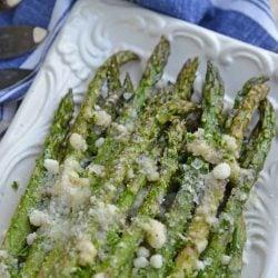 Close up of parmesan asparagus tips