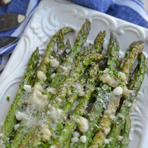 Close up of parmesan asparagus tips