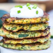 zucchini fritters with sour cream topping