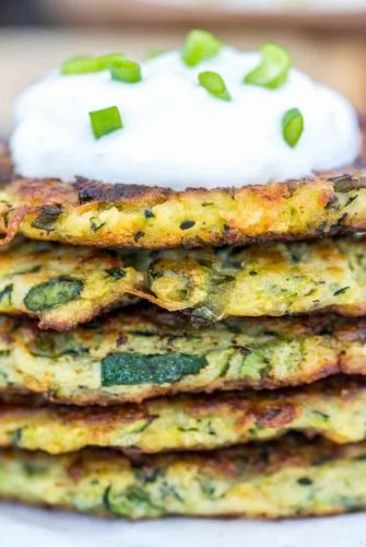 Side shot of zucchini patties