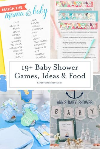 collage of baby shower ideas for pinterest