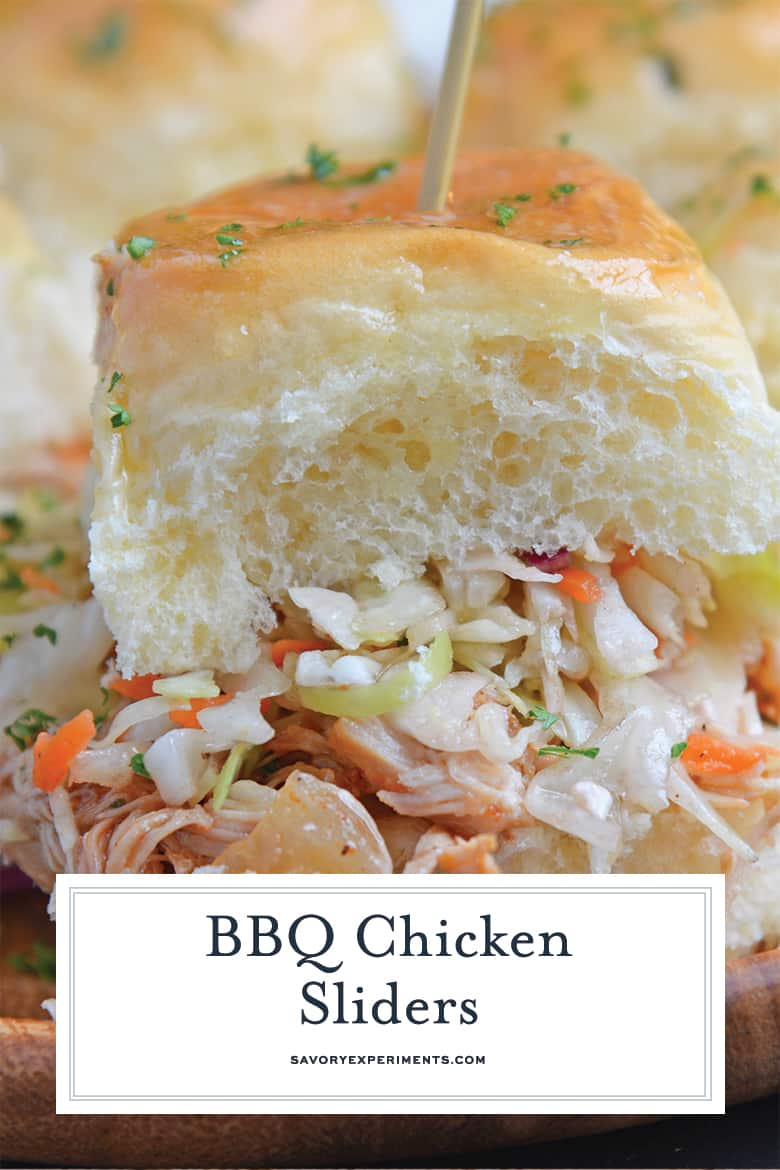 Side view of BBQ CHicken slider with coleslaw