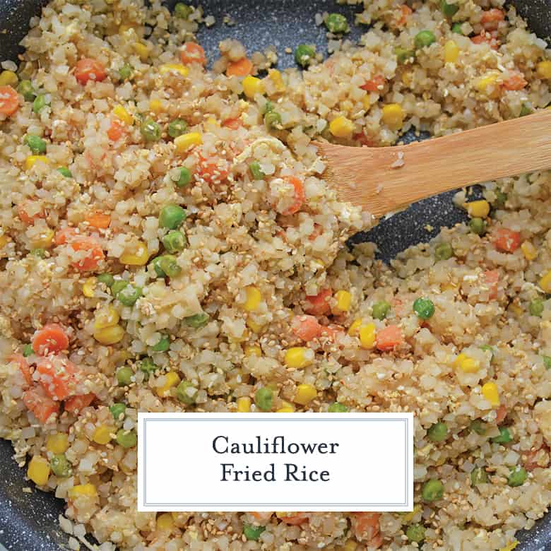 cauliflower fried rice in a skillet