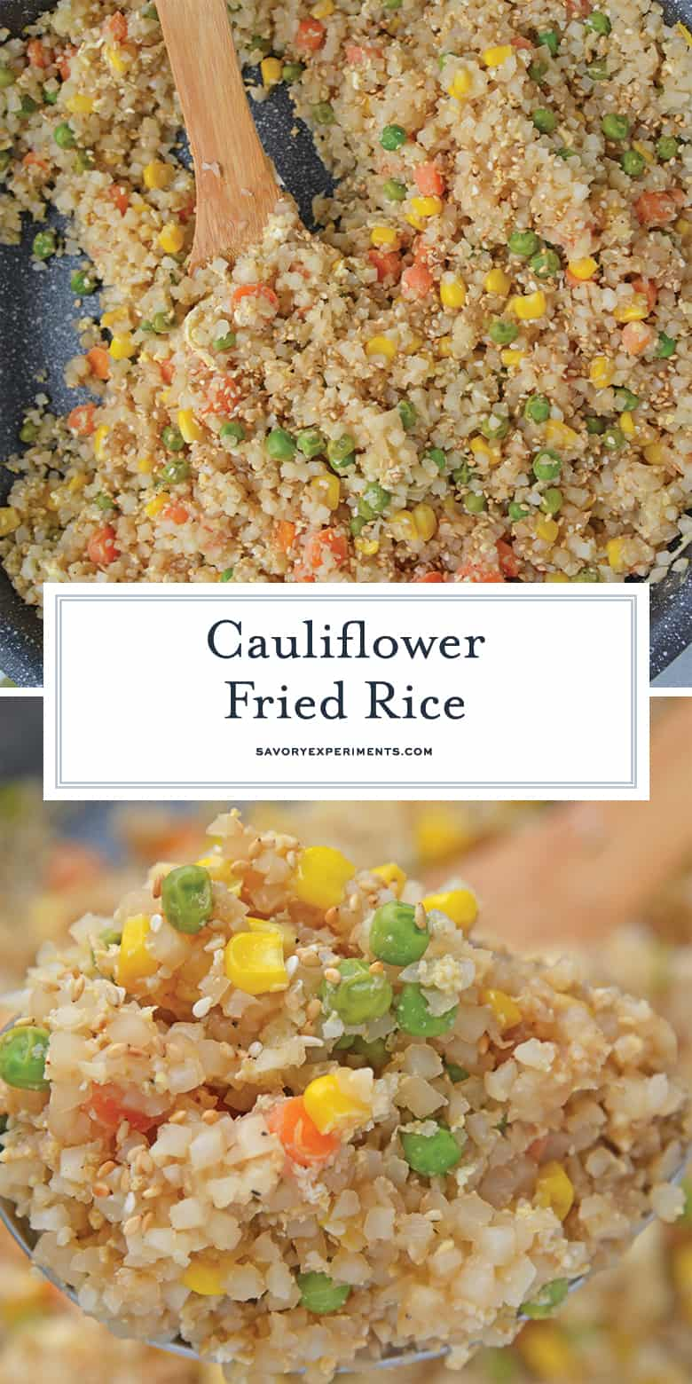A dish is filled with cauliflower fried rice