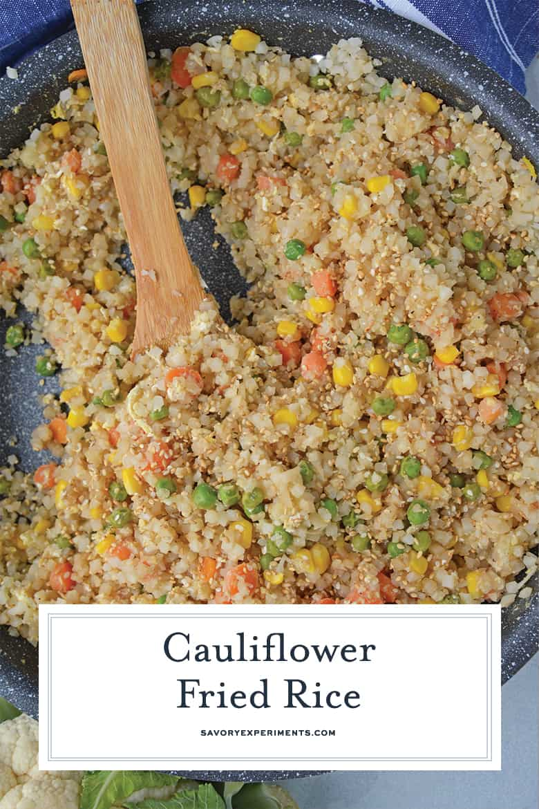 A dish is filled with food, with Cauliflower and Fried rice