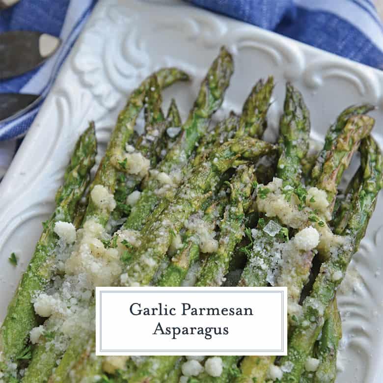 A plate of garlic parmesan asparagus