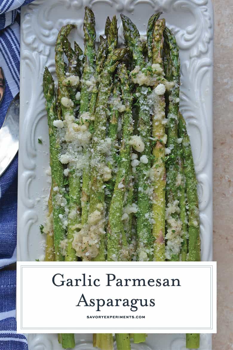Garlic Parmesan Asparagus on a White Serving Dish with Blue Napkin