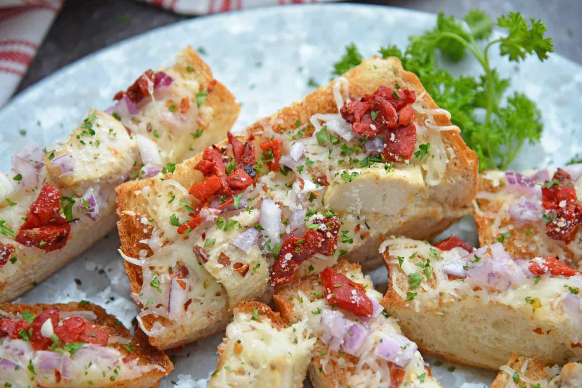 Close up of french bread pizza