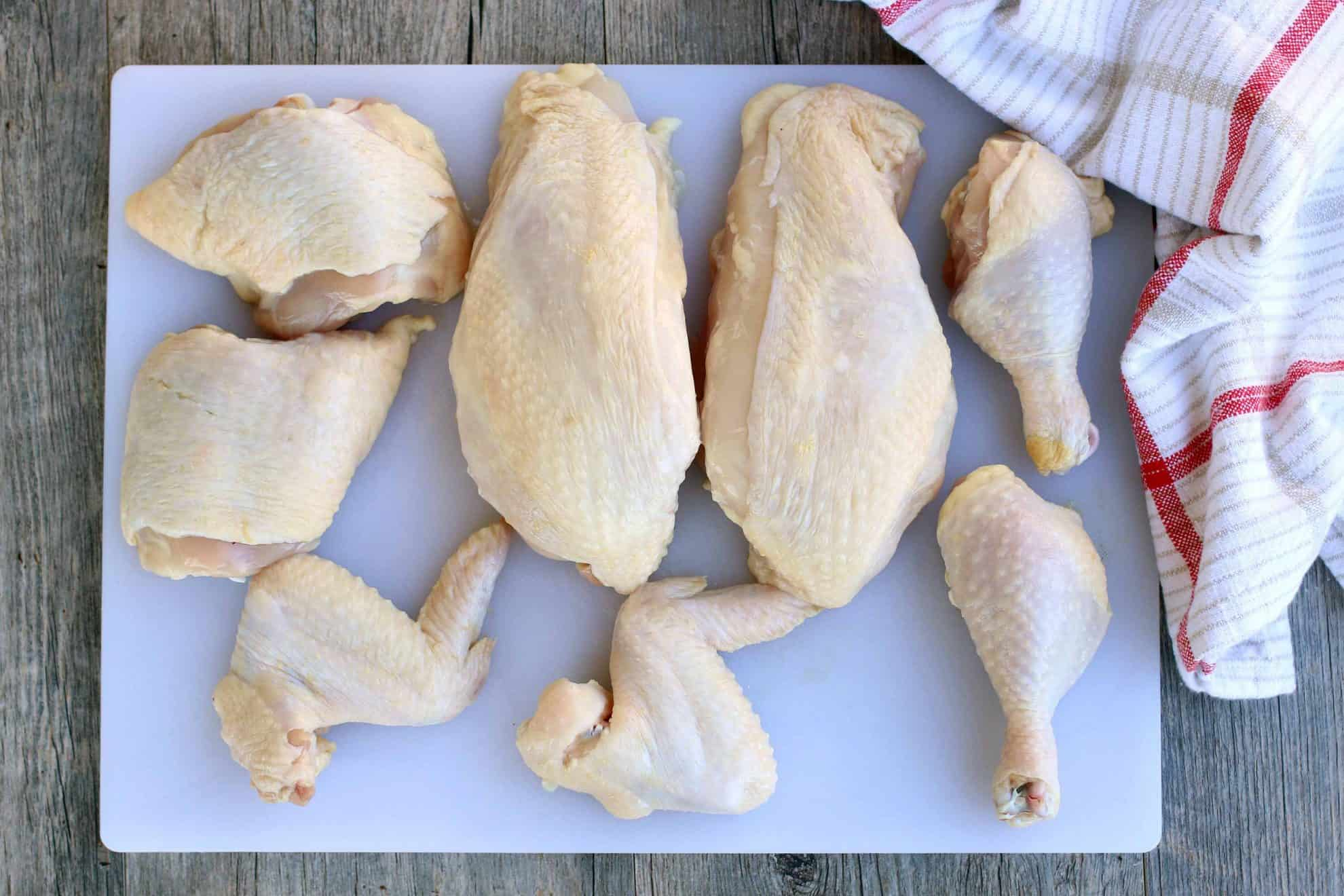 How to cut a whole chicken into individual cuts to save money.