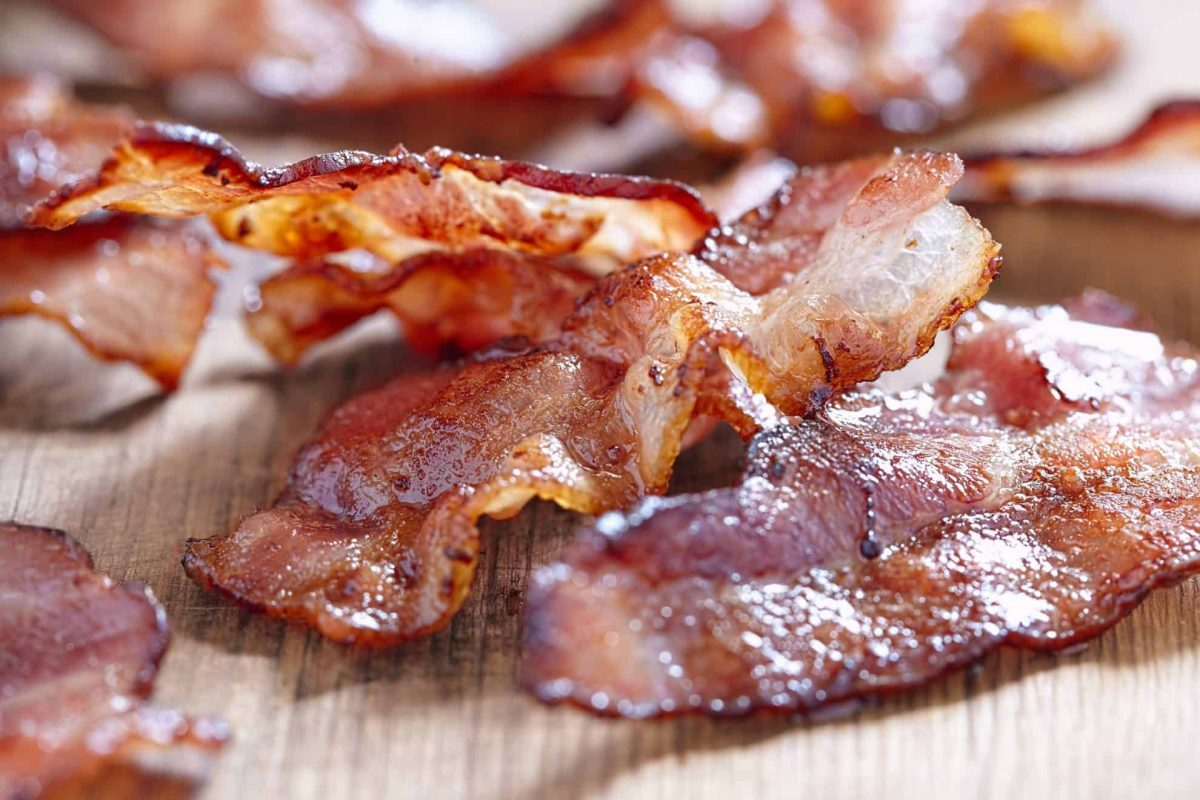 Close up of bacon in the oven